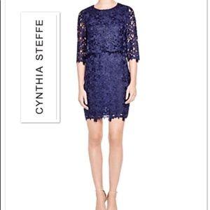 Cynthia Steffe flower lace dress ocean indego NWT!